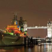 HMS Belfast at night - HMS Belfast