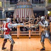 Knights fighting at a drinks reception in the Tour - NEW DOCK Hall and Royal Armouries Museum