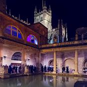 Drinks reception beside the Great bath - Bath's Historic Venues